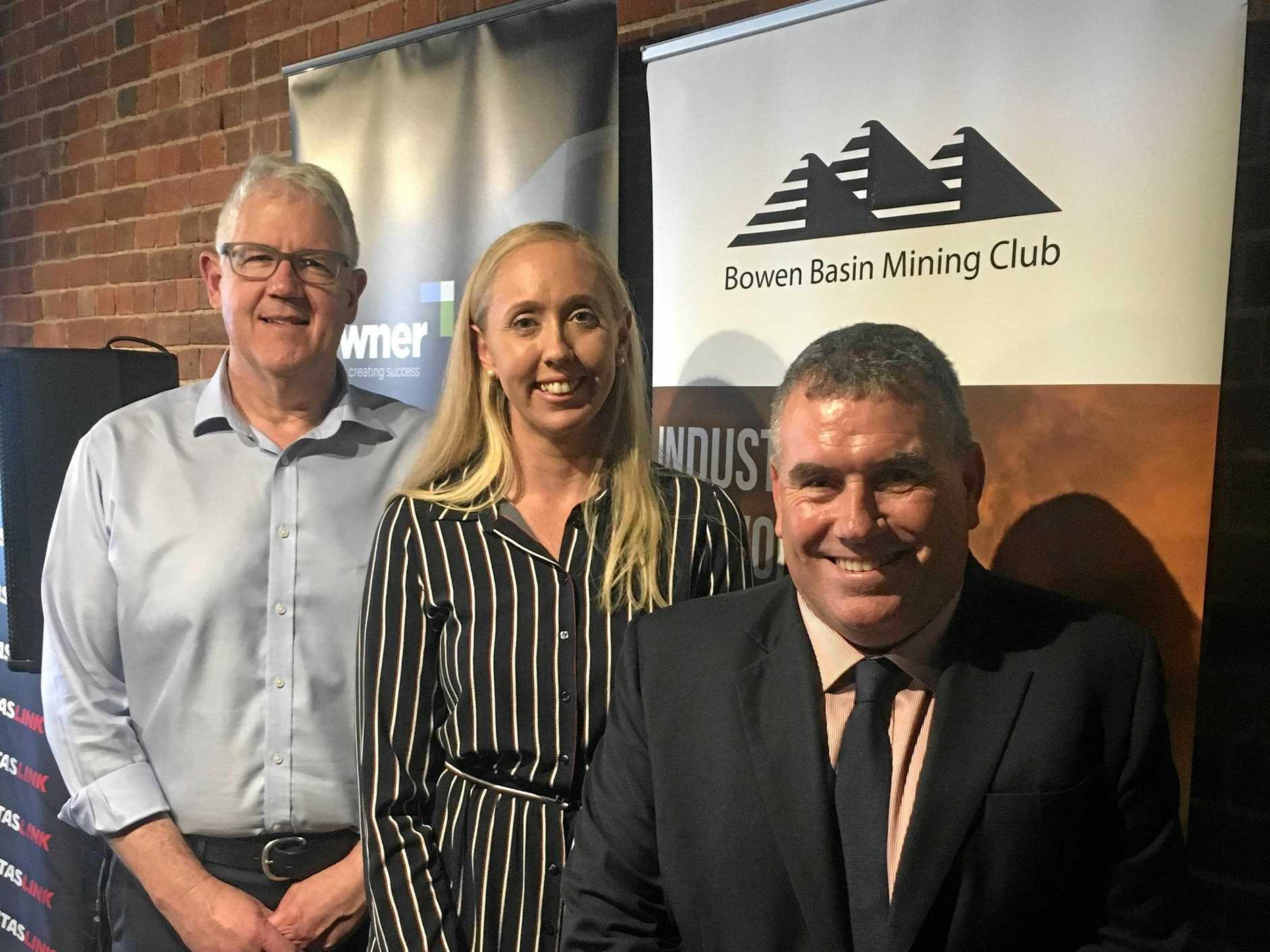 RESOURCES HEARTLAND: Brendan Pearson from the Minerals Council of Australia, Jodie Currie from the Bowen Basin Mining Club and Tony James from Carbine Resources at the first Bowen Basin Mining Club event in Rockhampton.
