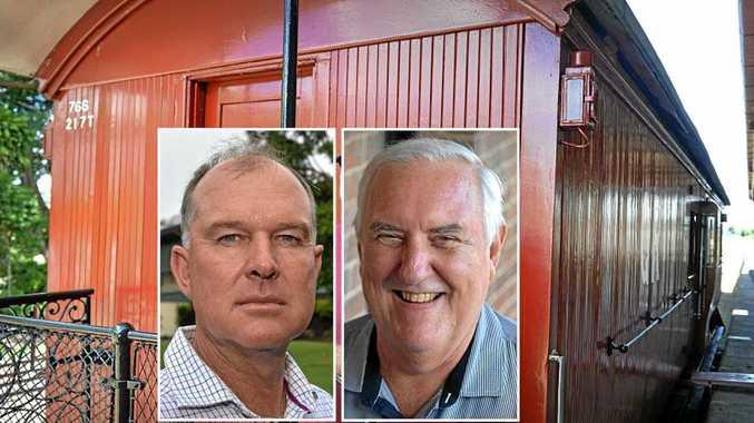 Gympie MP Tony Perrett and Rattler Railway Company board member Garry Davison.