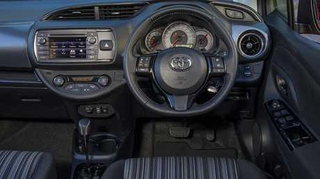 Inside the Toyota Yaris ZR.