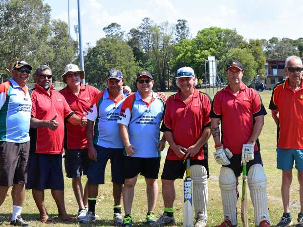 The Koori Males cricket team raring to go at the Lismore Workers Club Masters Games.