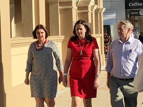 Member for Mackay Julieanne Gilbert, QLD Premier Anastacia Palaszczuk and Mirani MP Jim Pearce in Mackay.