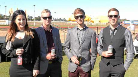 AT THE RACES: Zoe Neller, Codie, Zack and Corey Mciver at the Bundaberg Cup Raceday. Photo: Paul Donaldson / NewsMail