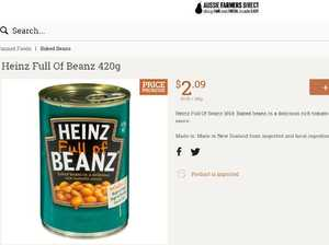 Heinz Baked Beanz 420g is selling for $2.09 on Farmers Direct.Source:Supplied