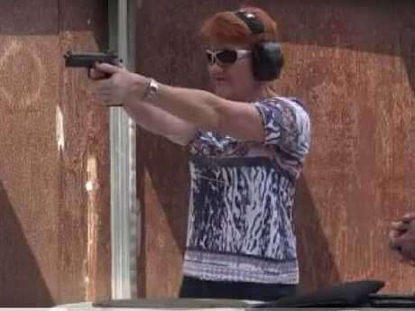 One Nation Senator Pauline Hanson at a shooting range. Picture: Supplied/Twitter