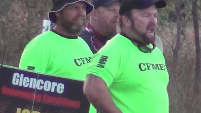 CFMEU Queensland president Stephen Smyth leading the strike at Oaky North in Queensland.