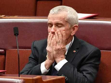 One Nation Senator Malcolm Roberts during the debate on the Media Reform Bill in the Senate chamber at Parliament House in Canberra, Thursday, September 14, 2017.