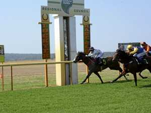 Northern Revenge (inside) holds on for apprentice Brooke Stower to score a narrow victory over Rotindy (Kenji Yoshida) in today's Fillies and Mares Maiden Plate (1100m) at Burgess Park.