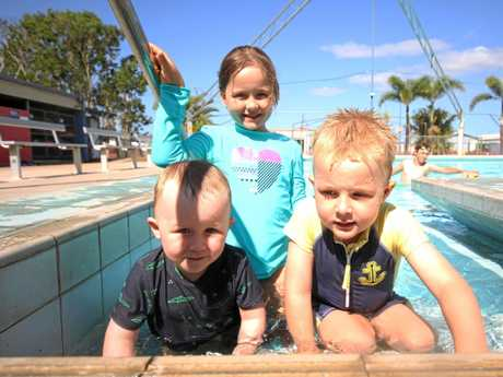 Billy, Gabrielle and Lucas Appelton were one of the first to take the plunge at the revamped Proserpine Pool on Saturday.