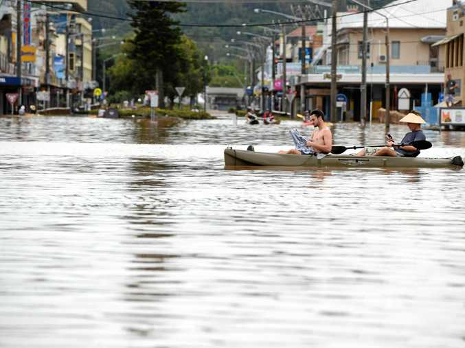 The only way to get around in the floods