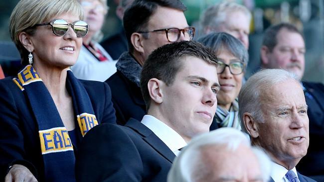 Then American vice president Joe Biden at a West Coast match with footballer Mason Cox and Julie Bishop in 2016. Picture: Mark Stewart, Herald Sun