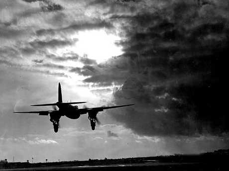 Mosquito Fighter Bomber plane aeroplane during World War II. The Allies targeted Nazi nuclear research facilities in Norway, Germany and elsewhere in Europe in a desperate bid to stop Hitler obtaining an atomic bomb.