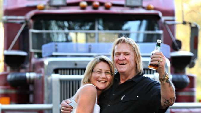 Truck driver Frank Weis and his partner Kim Van Mosseveld celebrate the $1.36 million Keno jackpot win.