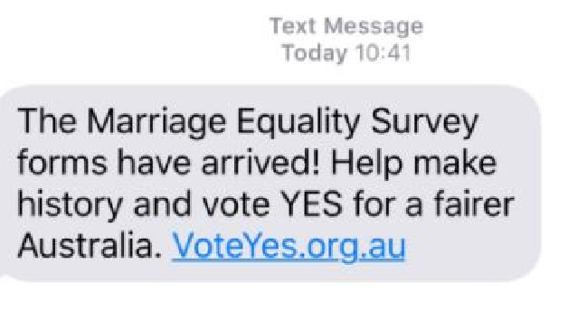 A text message being sent to Australians by the Yes campaign. Picture: Supplied
