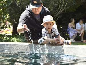 Keeping cool in Queens Park, Kaiser Leung and his dad