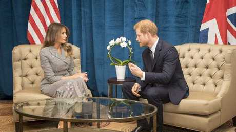 Britain's Prince Harry speaks during a bilateral meeting with First Lady of the United States Melania Trump ahead of the start of the 2017 Invictus Games in Toronto, Canada, Saturday Sept. 23, 2017.