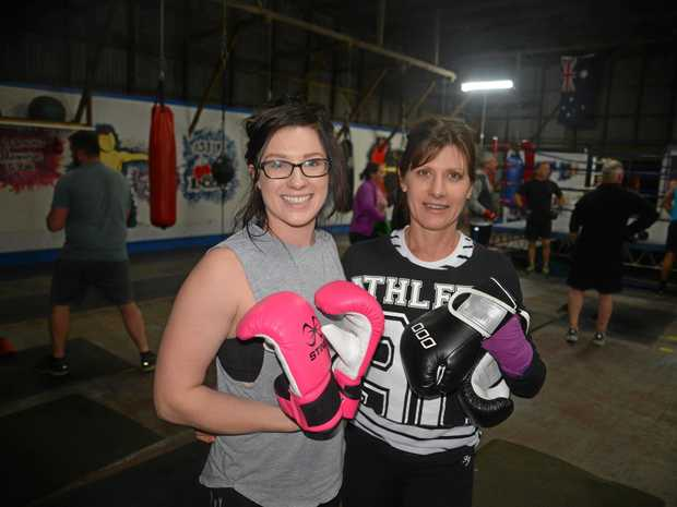 Denby Whitwell and her mother Bev Watt at Warwick Boxing Club training.