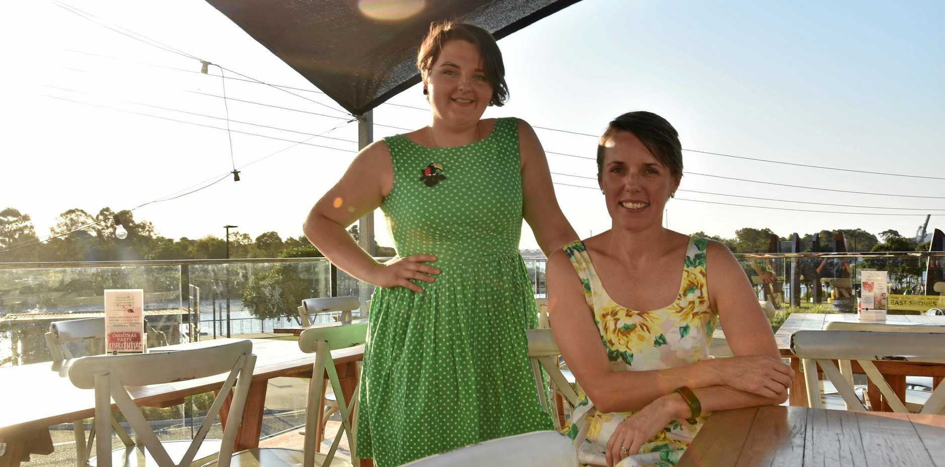 BEAUTIFUL VIEW: Function coordinator Monica Mattingley and Bec Addinall take in the afternoon sun on The Dock's new rooftop deck.