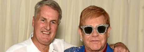 Mackay Mayor Greg Williamson with Sir Elton John at the Once in a Lifetime concert in Mackay, September 2017.