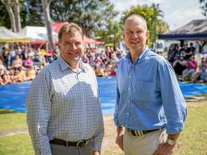 Sahdow Housing Minister and Burnett MP Steve Bennett with Gympie MP Tony Perrett at the Tin Can Bay Seafood Festival on Saturday morning.