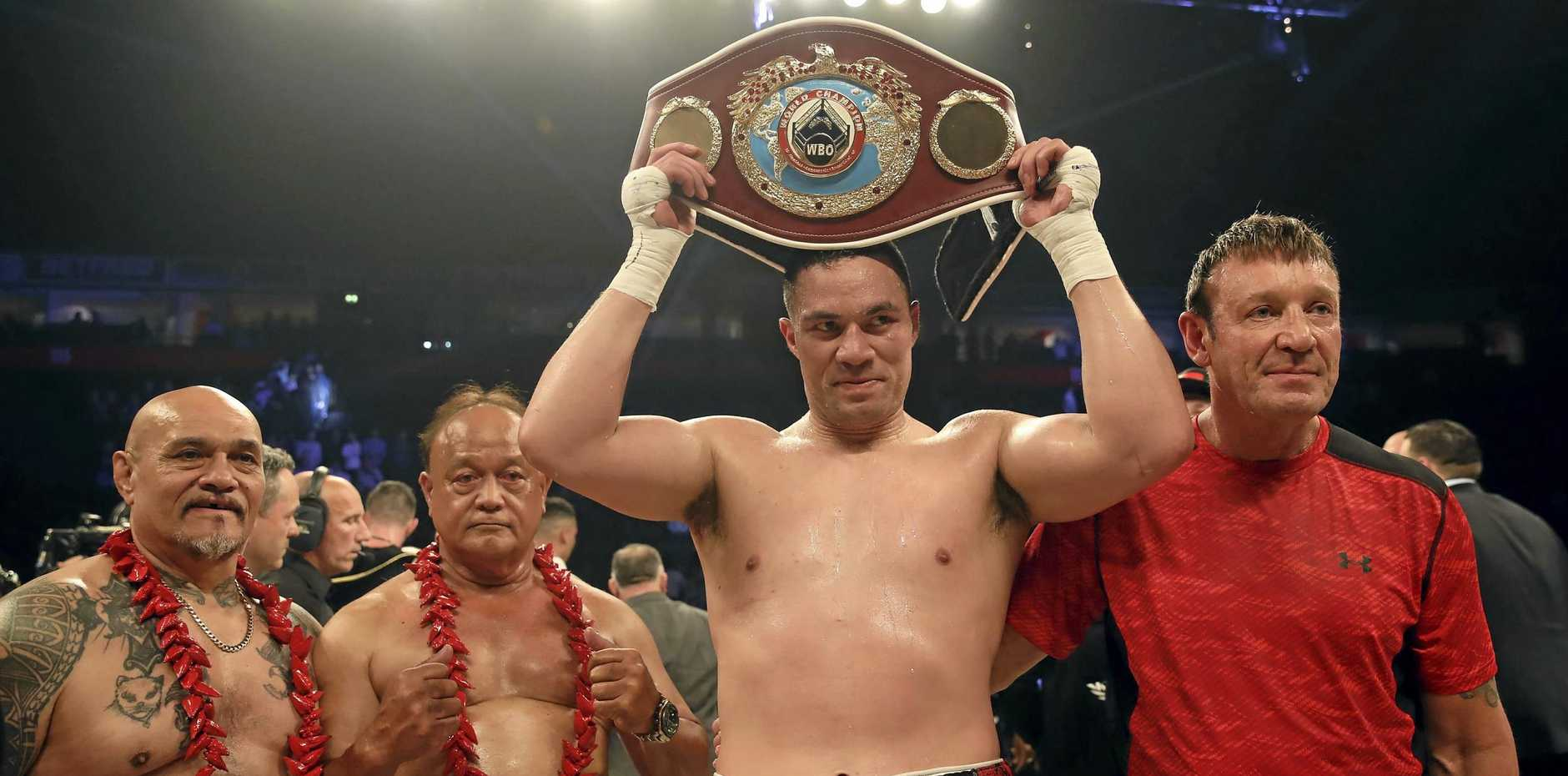New Zealand's Joseph Parker celebrates his points victory over Britain's Hughie Fury at Manchester Arena