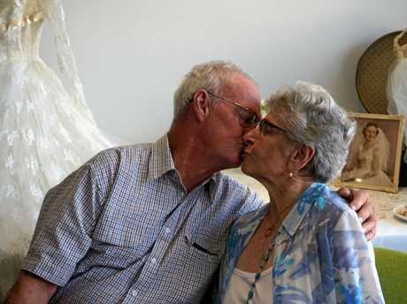 Harold and Nan Crozier celebrate their 60th wedding anniversary at the Crowley retirement village boardroom, Ballina.