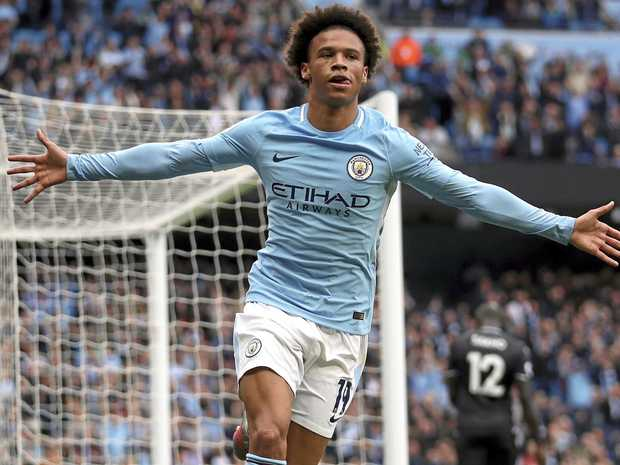 Manchester City's Leroy Sane celebrates scoring his side's first goal in the 5-0 win over Crystal Palace.