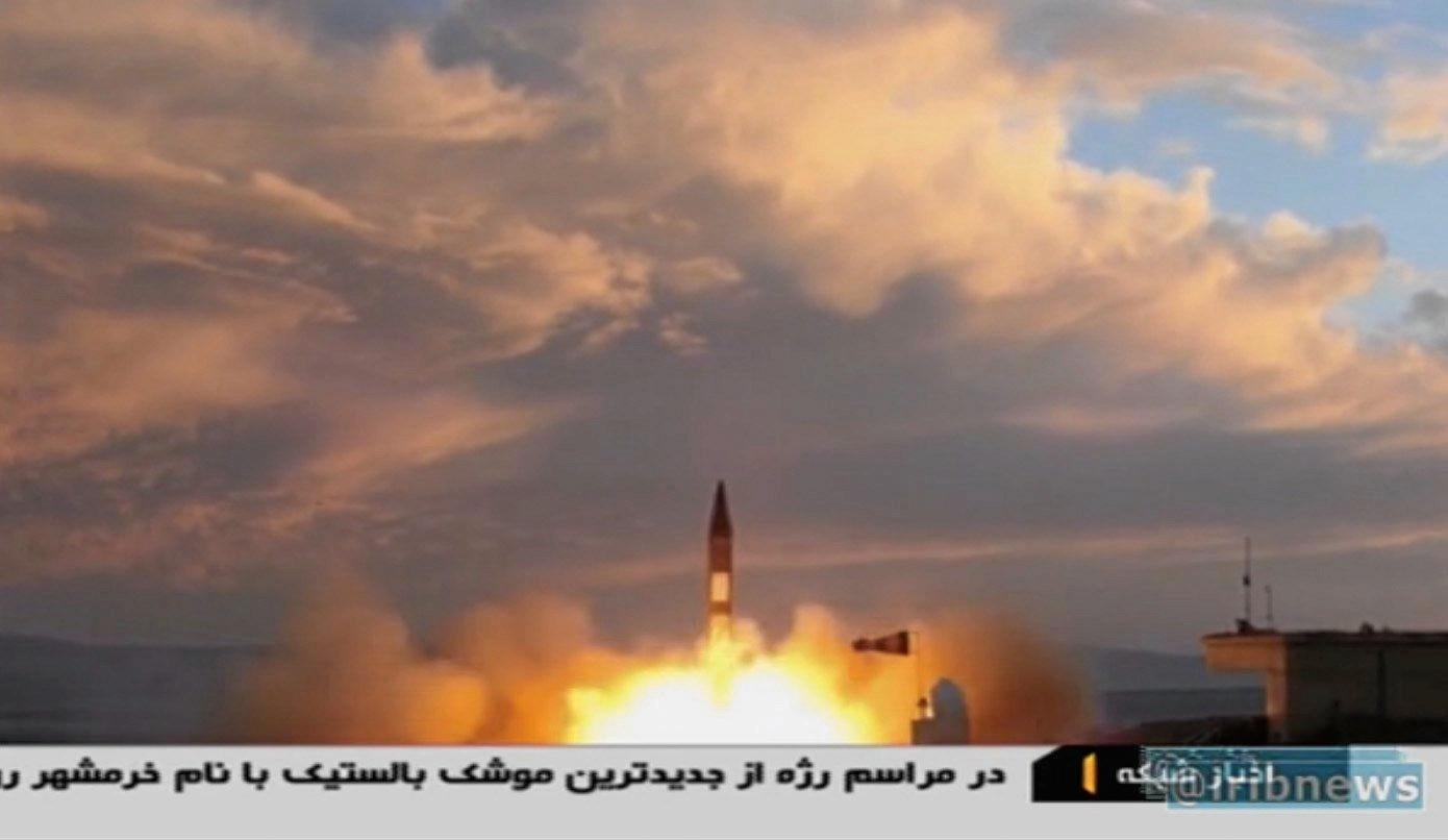 A still image taken from video of Iran's launch its new missile.
