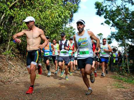 Sam Stedman and Brendan Davies lead the 28.7km trail run through the Conway National Park.