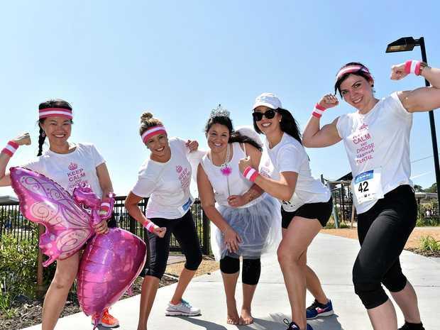 SISTERHOOD: At the Bli Bli Unite Fun Run and Walk are staff from Yandina Dental: Dr Wei Lee, Lisa Cordwell, Emma-Kate Westaway, principal dentist Dr Brooke Parker, and Mel Fruscalzo.
