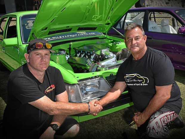 The For the Boys memorial cruise and car show was held at Kawana Sport Precinct to raise funds for the families of Coast men Kurt Bull and Daniel King who were killed in a crash at Queensland Raceway on August 19. Ryan Cobb and Kurt's father Clayton Bull.