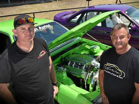 The For the Boys memorial cruise and car show was held at Kawana Sport Precinct to raise funds for the families of Coast men Kurt Bull and Daniel King who were killed in a crash at Queensland Raceway on August 19. Ryan Cobb (L) and Kurt's father Clayton Bull.
