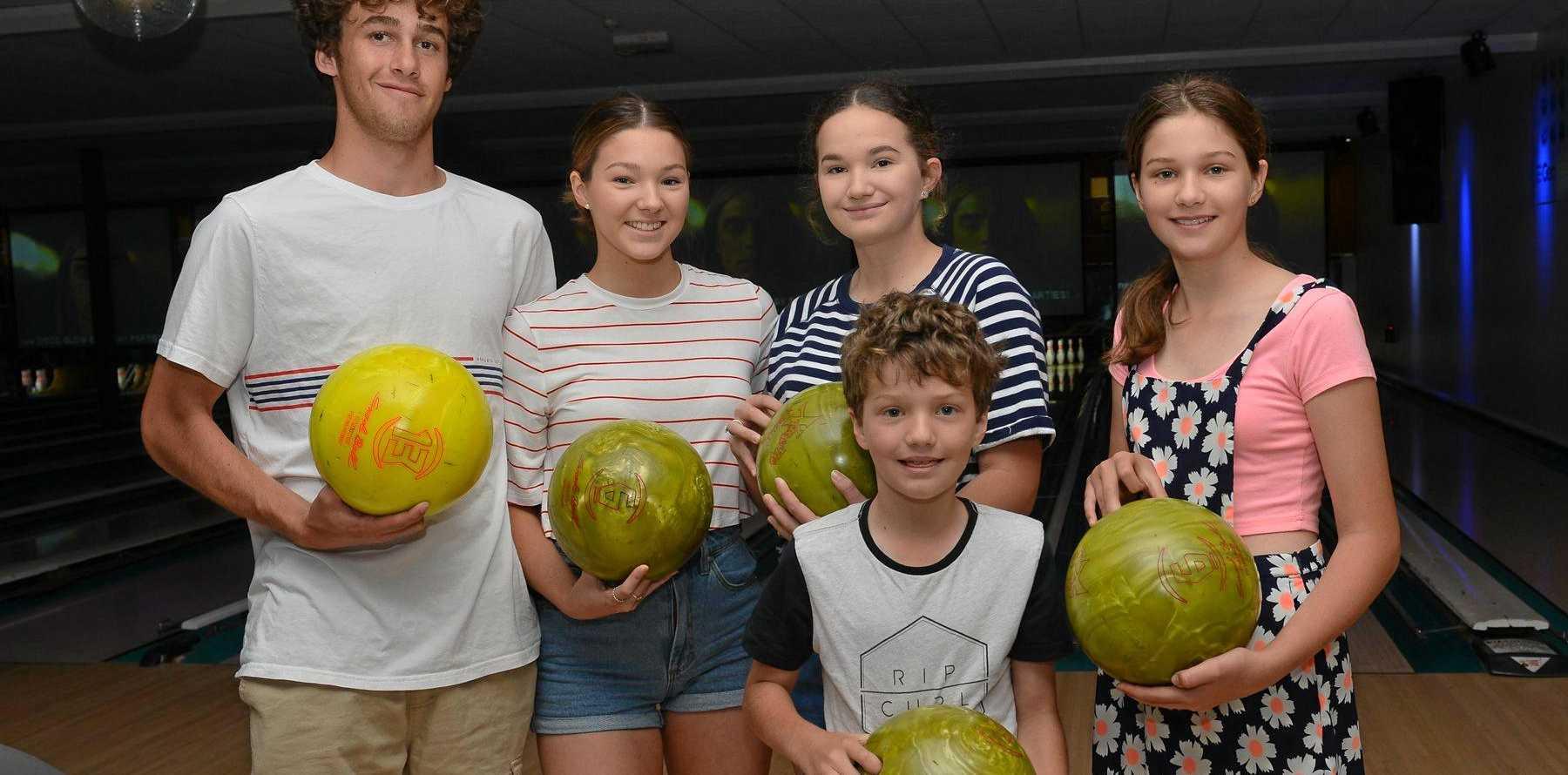 HOLIDAY FUN: Luca Felesina, Isabella, Sofie, Gabrielle and William Bonanno at Bundy Bowl and Leisure.
