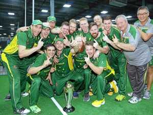 CHAMPIONS: Lyle Teske (centre) celebrates winning the Indoor Cricket World Cup with his Australia team mates in Dubai.