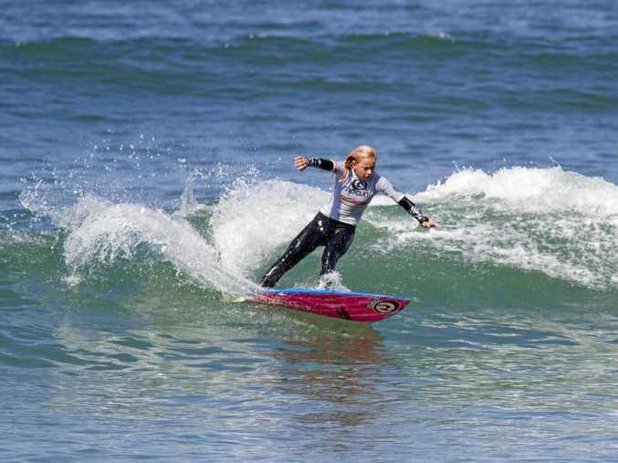 WAVE RIDER: Lennox Head surfer Nyxie Ryan scored a perfect 10 in the Rip Curl Grom Search yesterday.