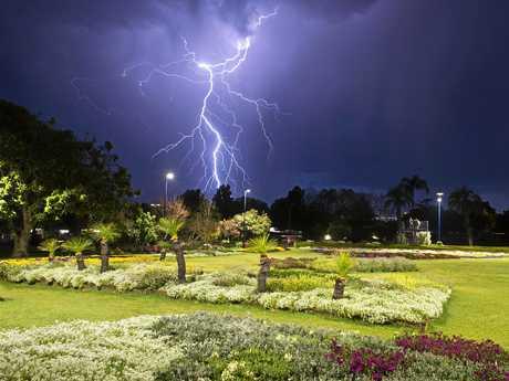 LIGHTING UP THE SKY: Lightning over Laurel Bank Park last Friday night.