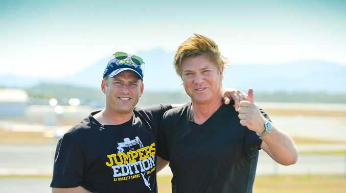 Karl Stefanovic and Richard Wilkins give Gladstone the thumbs up.The Today show team touch down in Gladstone.