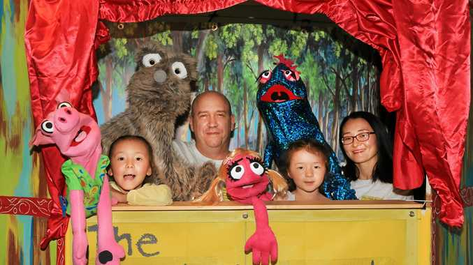 Mark Rengel, wife Luyan and daughters Avalon (7) and Aurora (5) from the Mark Rengel Puppet Theatre Company.