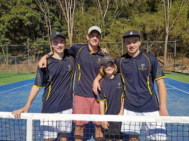 Jetty High tennis team: Marcus Woschitzka, Matt Thompson, Charlie Pade and Dominic Slaviero.
