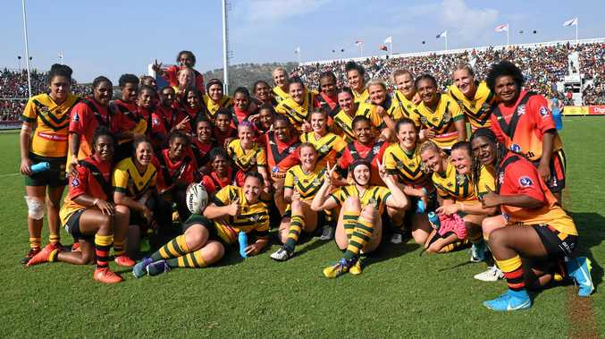FRIENDLY FOES: The Jillaroos defeated PNG Orchids 42-4 in a curtain-raiser to the Prime Minister's XIII match, at the National Football Stadium in Port Moresby.