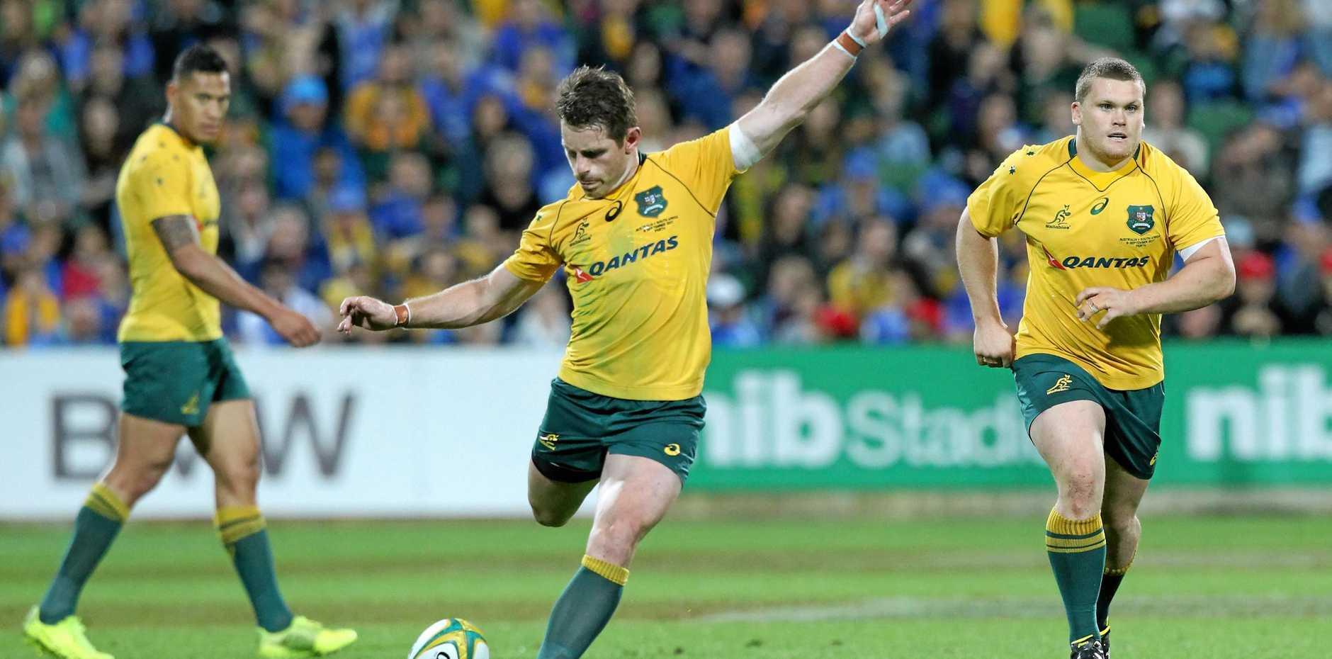 Bernard Foley kicks a goal against the Springboks in the draw in Perth.