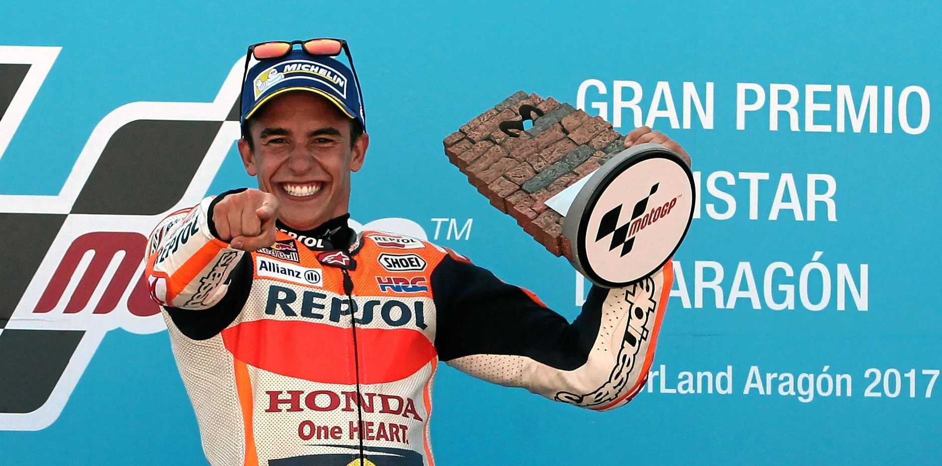 Spanish MotoGP rider Marc Marquez celebrates winning the Aragon Grand Prix at Motorland circuit in Alcaniz, Teruel, Spain