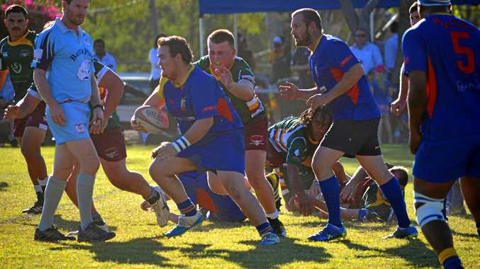 ON THE CHARGE: Gladstone Goats' prop Dylan Johnson makes some metres against Frenchville in the elimination semi-final at Moura in August.