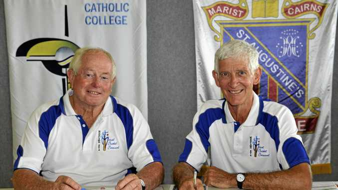 Geoff Gaggin and Roger Boyd at a cricket carnival in Lismore. Clunes will take on Lismore in an anniversary match this weekend.