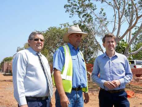 (left to right) Hervey Bay MP Ted Sorensen, Qcivil project manager Kevin Baumann and LNP Shadow Employment Minister Jarrod Bleijie survey the Urraween roadworks site.