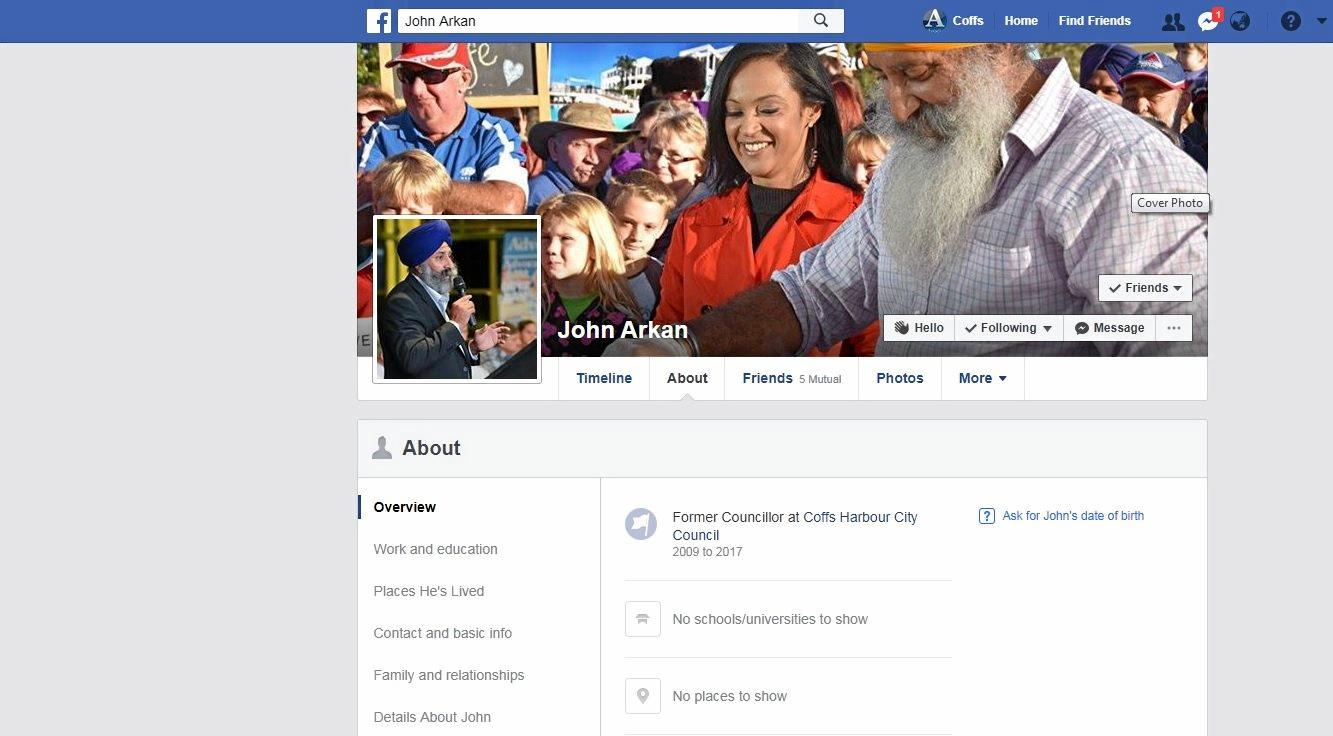 FORMER COUNCILLOR: John Arkan has changed his job status on Facebook to former Coffs Harbour City councillor.