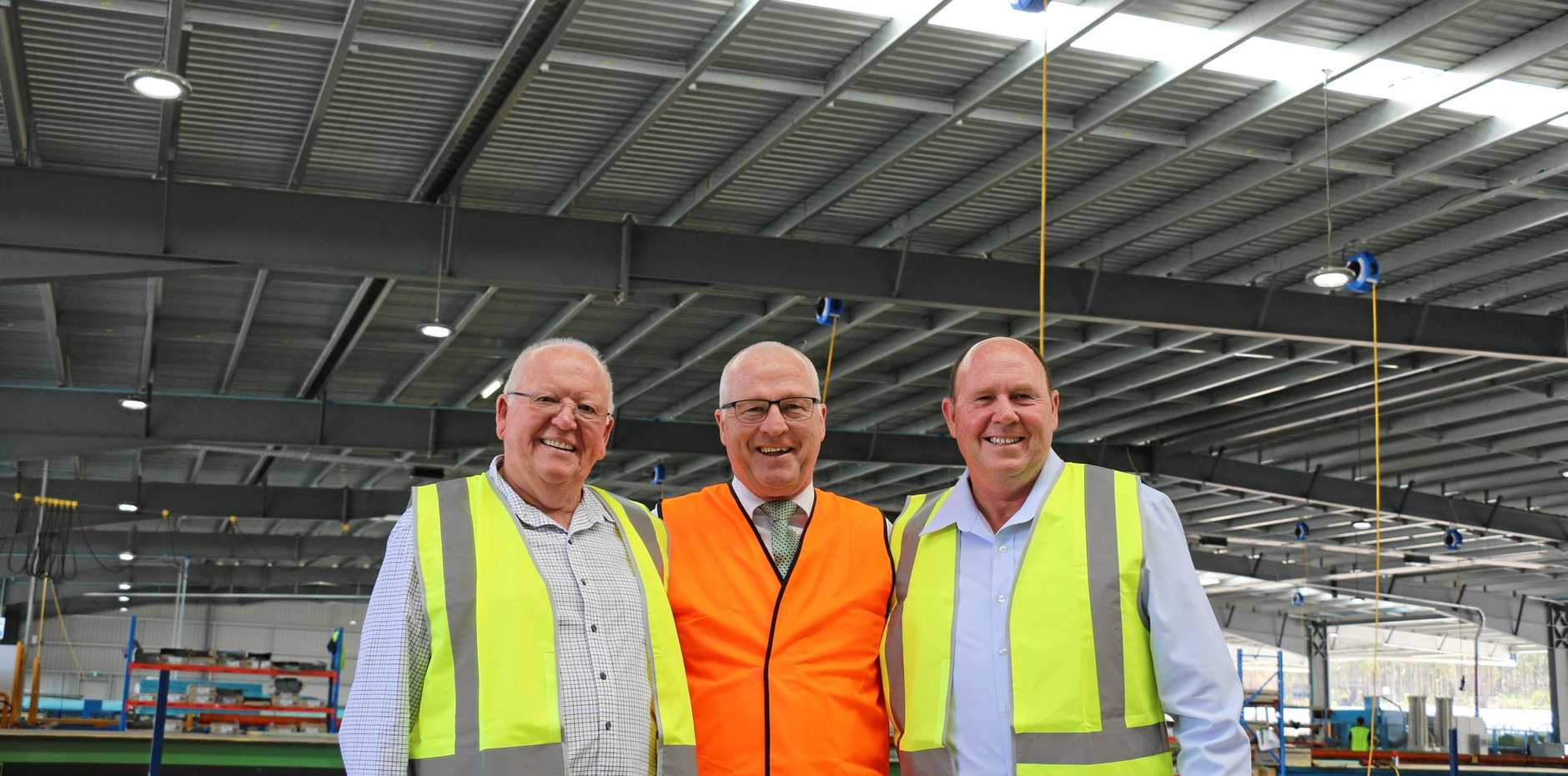 Langs owner Bob Lang, Mayor Mark Jamieson and Langs general manager David Wuiske during the official opening of Langs Building Supplies Caloundra.