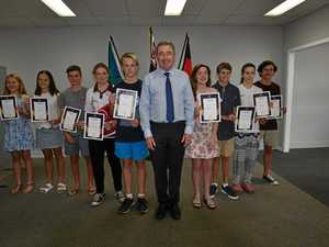 FUTURE STARS: Page MP Kevin Hogan presents nine young Northern Rivers sportsmen and women with certificates and $500 for their achievements.