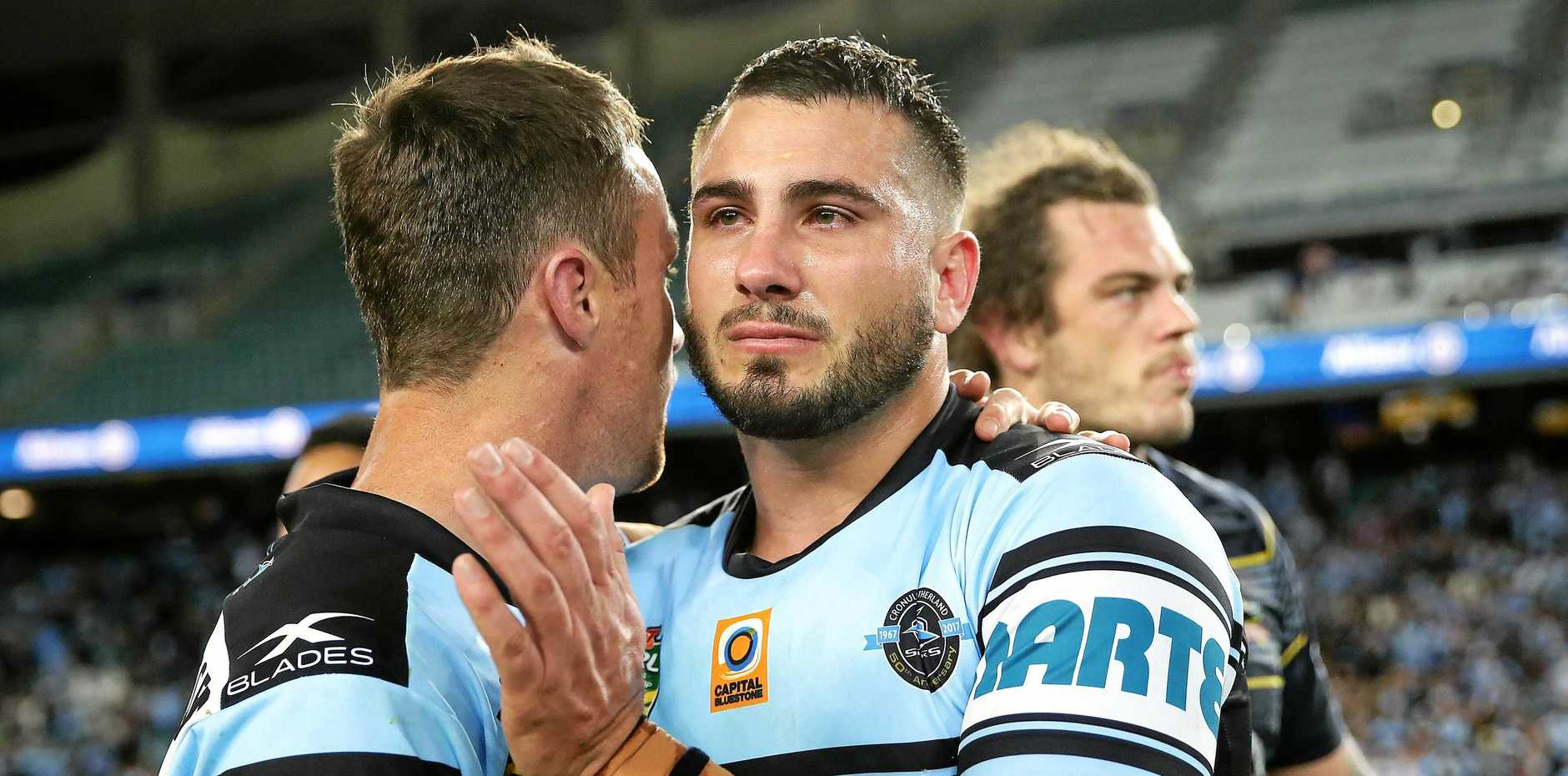 Cronulla's Jack Bird in tears with James Maloney at full-time after the Sharks loss to the Cowboys in the Elimination Final at Allianz Stadium.