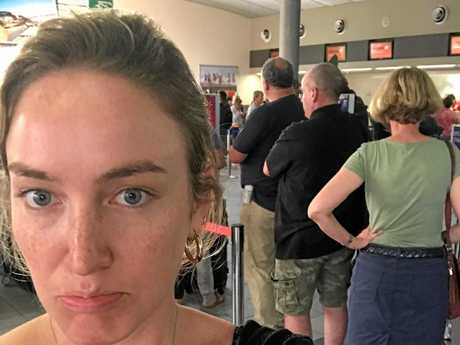 Jetstar passenger Mad Woon waited six hours for her delayed flight before staff cancelled it at the last minute.