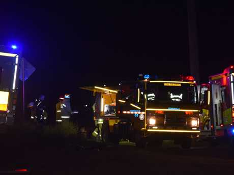 Emergency services at the scene of the crash on the Warrego Hwy at Bowenville.